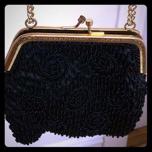 Vintage black beaded purse.